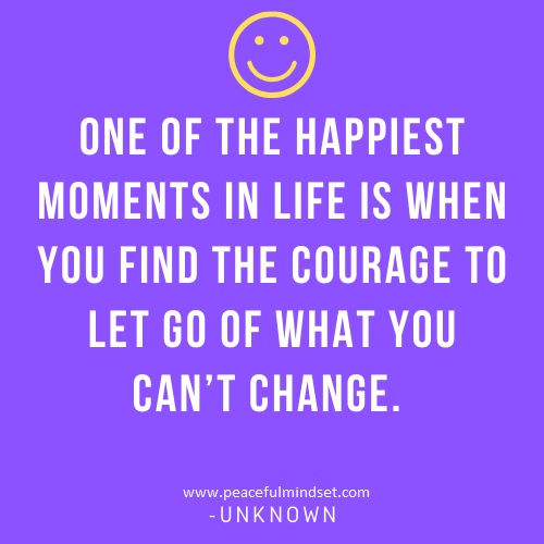 One of the happiest moments in life is when you find the courage to let go of what you can't change. -Unknown